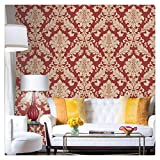 HaokHome 561406 Vintage Luxury Damask Wallpaper Crimson Red/Beige/Gold Glitter Wall Murals Bedroom Living Room Home Decoration 20.8'' x 393.7''