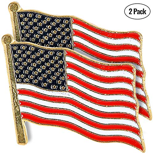 Bedwina United States Waving American Flag,(Set of 2) with Lapel Pin, Stars and Stripes, Traditional American Flag to Show Your Patriotism,Made in USA