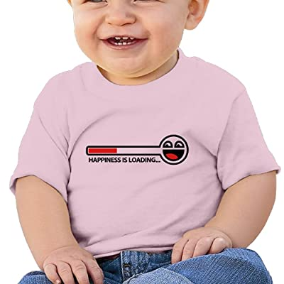 REBELN Happiness Is Loading Cotton Short Sleeve T Shirts For Baby Toddler Infant