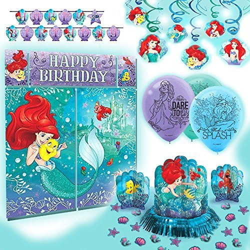 Amscan Disney Princess Dream Big Ariel Premium Birthday Party Pack Decoration Kit -