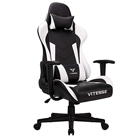 Gaming Office Chair Ergonomic Desk Chair High Back Racing Style Computer Chair Swivel Executive Leather Chair with Lumbar Support and Headrest White
