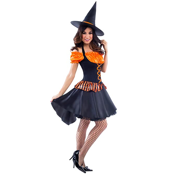 a07104cee1a Morph Womens Witch Costume Orange Sexy Adult Witches Hat Dress Up Magical  Outfit