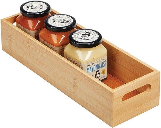 mDesign Caja organizadora con asas – Práctico cajón de madera para almacenar alimentos, especias, nueces o botellas – Organizador de cocina abierto en madera de bambú – color bambú: Amazon.es: Hogar
