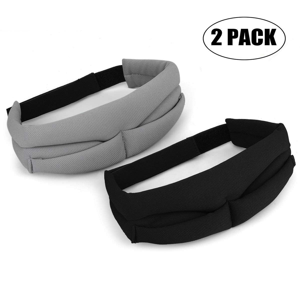 JANSANE Sleep Eye Mark Cover for Women Men Silk Contoured Adjustable Comfortable Sleeping Eyeshade Blindfold Camping Travel 2 Pack