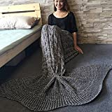 Knitted Mermaid Tail Blanket, Kwock Super Soft Fashion Sleeping Bag Sofa Bed Throw for Kids and Adults Best Valentine's Day Birthday Gift 190x90cm (75x35 inches) (Gray)