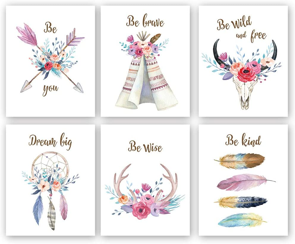 "Girls Boho Tribal Art Print,Dreamcatcher Feathers Flowers With Inspirational Quote Wall Poster Picture,Set Of 6(8X10"" Unframed) Watercolor Positive Affirmation Words Bohemian Canvas Poster"