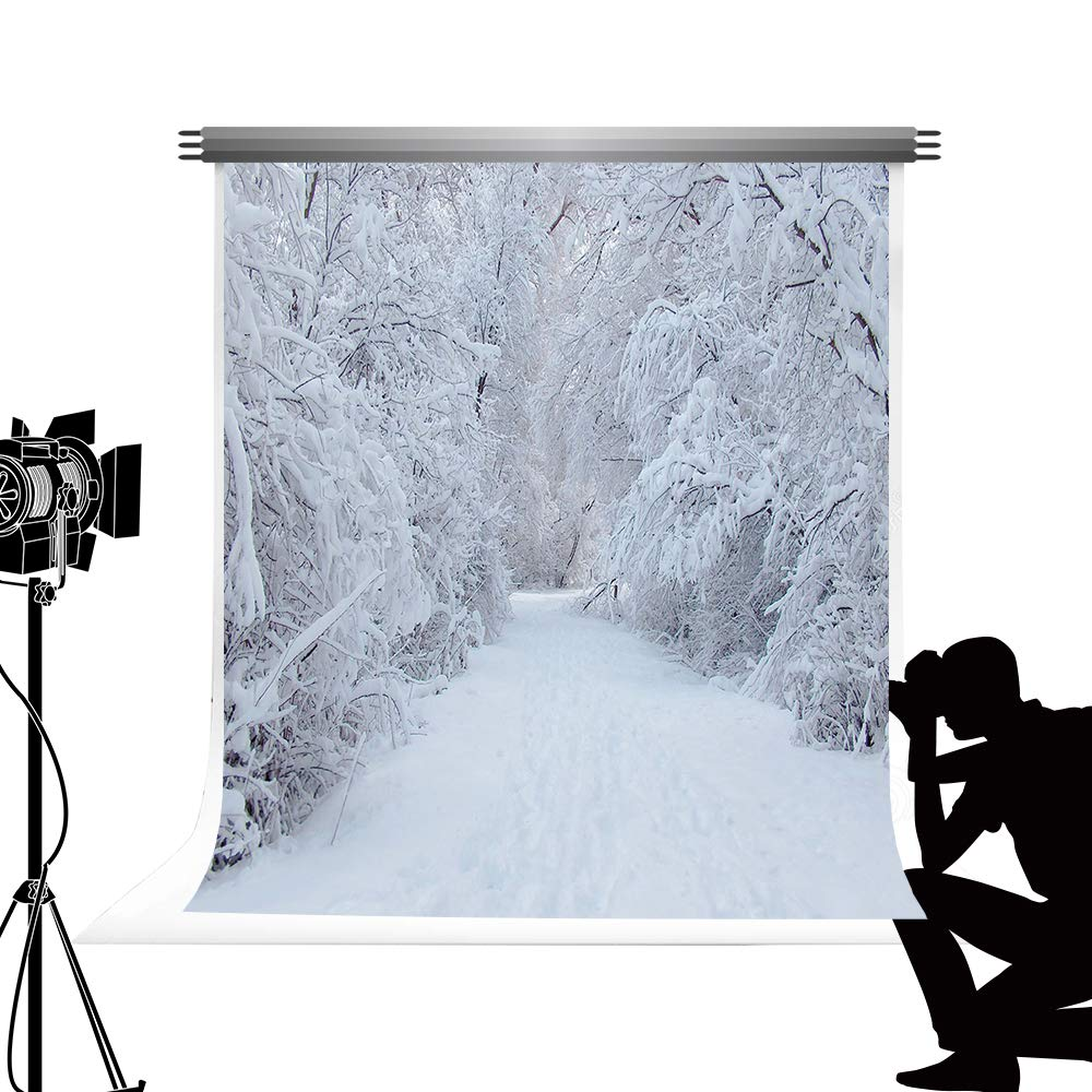 2x3m Kate Winter Forest Scenery Backdrop for Photography Portable White Snow Tree Scenic Photo Studio Photo Props Background 6.5x10ft