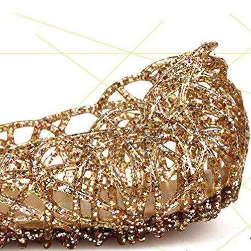SUNAVY Damen Hohl Flach Gelee Sandalen Bird-Nest Ballett Weich Plastik Schuh (EU35 - EU40) Gold