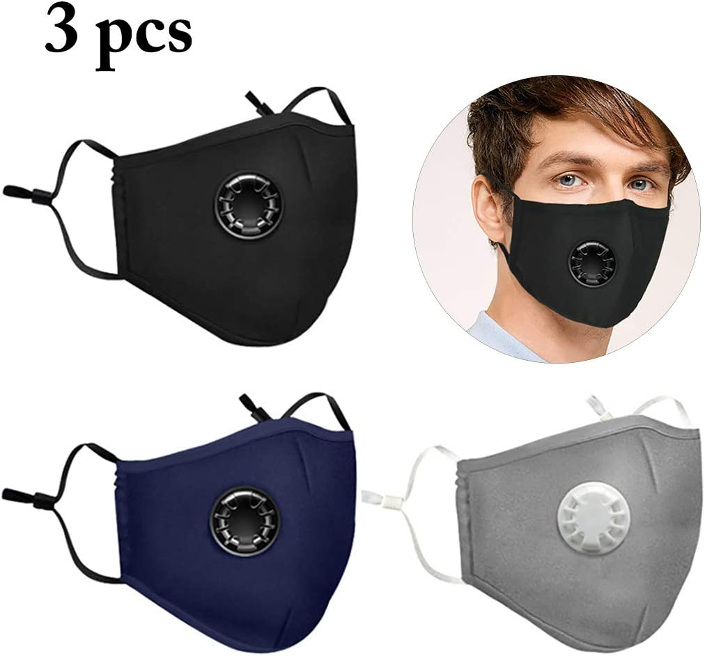 3PCS Mouth covers Breathable Anti-dust PM 2.5 Cotton covers with Valve & Filters