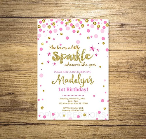 Sparkle Party Invitation, Custom Pink Sprinkles and Gold