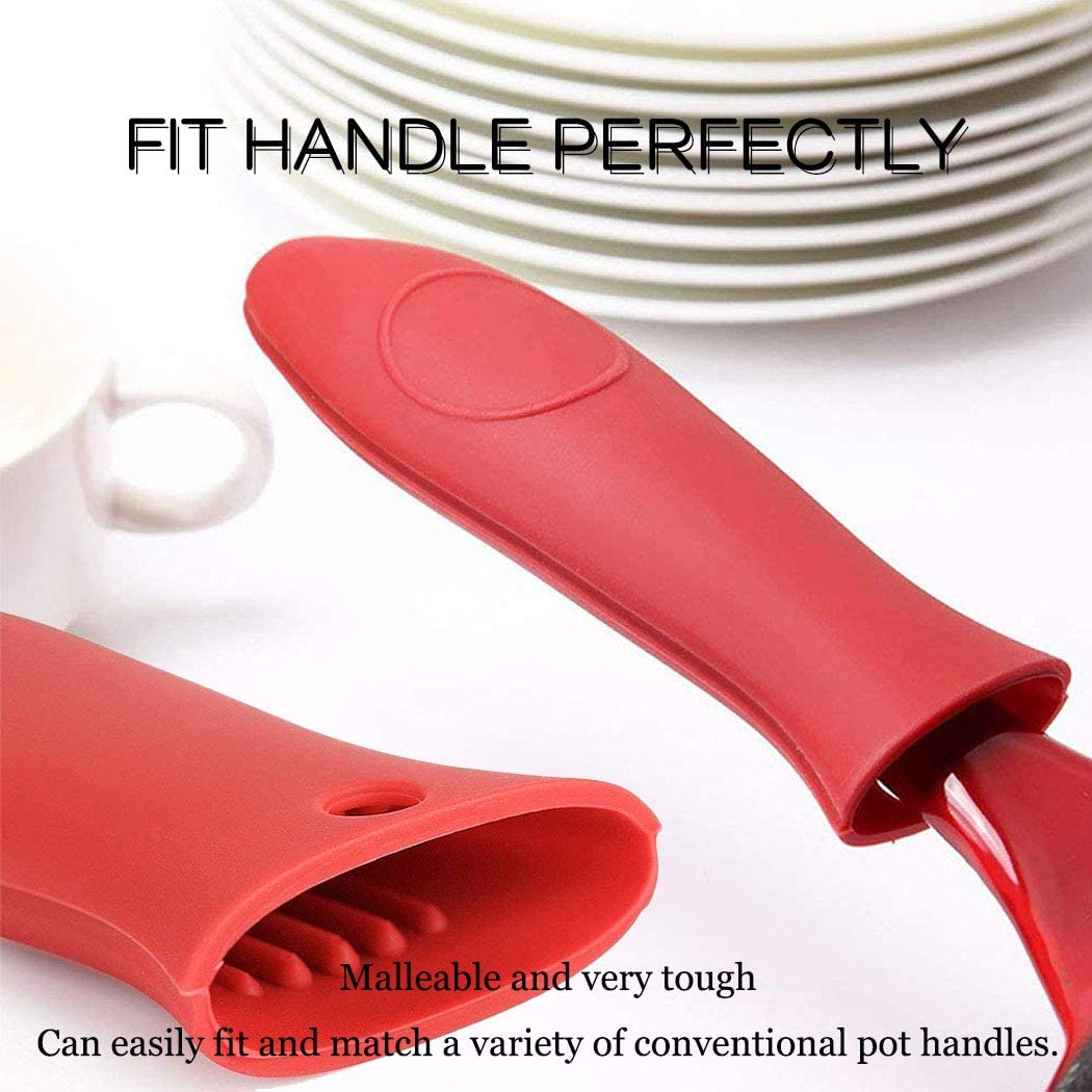 Silicone Hot Handle Holder Hot Insulation Silicone Rubber Handle Covers Heat Insulated High Temperature Resistant Anti-Scalding Pot Handle Holder Mitts For Cast Iron Pans Cookware Pots,2 PACK