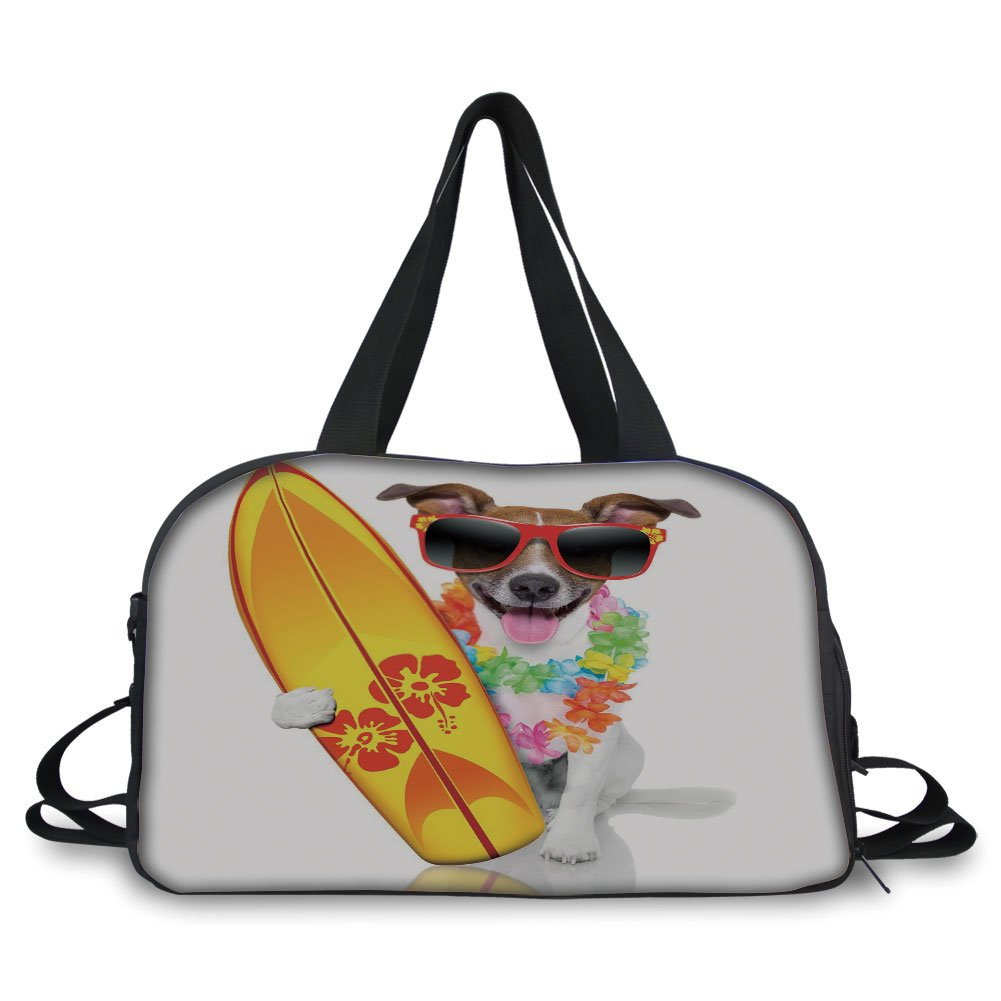 Trunk,Ride The Wave,Surfer Puppy with Sunglasses and Tropical Hibiscus Flowers Hawaiian Dog Print,Multicolor,Picture Print