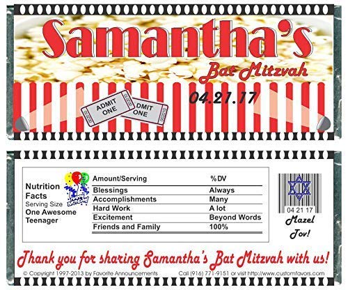 Bat or Bar Mitzvah Popcorn Theme Candy Bar Wrappers, Chocolate Party Favors (Set of 12)(W428)