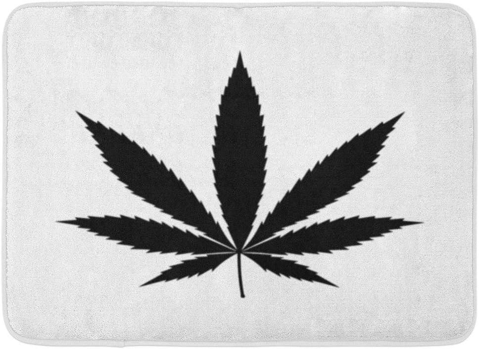 Alfombrillas Alfombras de baño Alfombrilla para Exteriores/Interiores Hierba Cannabis Marihuana Hoja Cáñamo Maceta Plana para Aplicaciones y sitios Web Silueta Planta Decoración de baño Alfombra Al