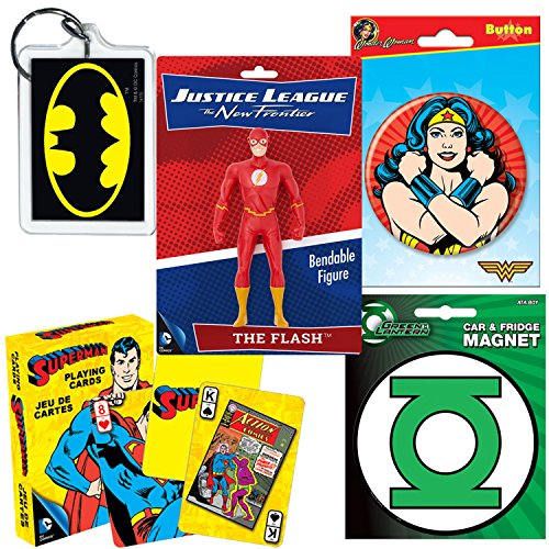 PopShoppes Classic Superheroes DC PopBox - Deluxe Assorted Gift Bundle Set (Batman, Superman, Wonder Woman, Flash, Green Hornet) Bendable Figure, Playing Cards, Magnet, Button & Keychain (Styles Vary)