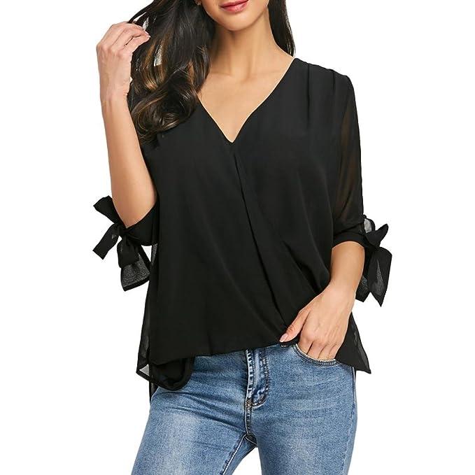 Blusas para Mujer Verano Manga Corta AIMEE7 Blusas para Mujer Verano Elegantes Camisa De Corbata De