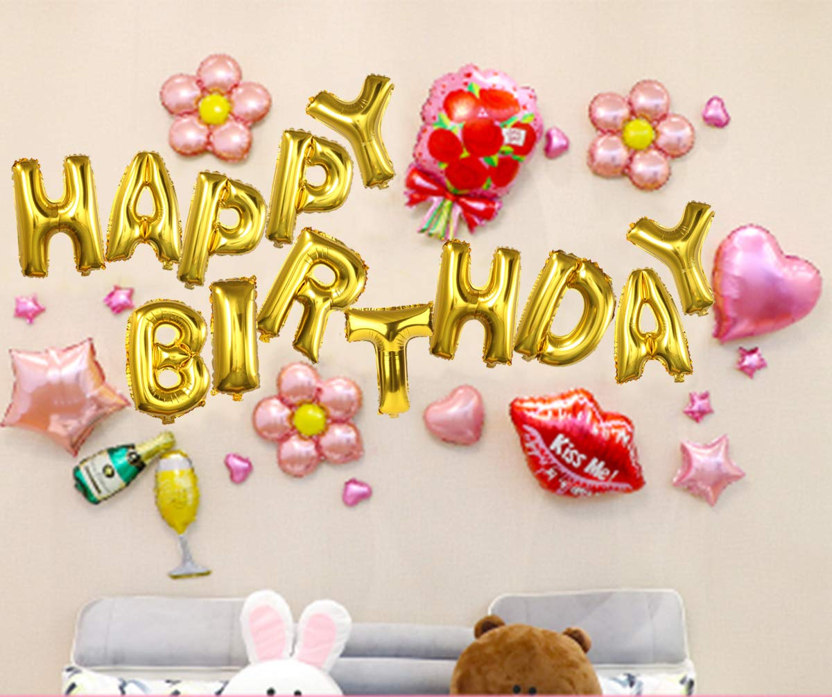 Amazon.com: Happy Birthday Balloons, OUTGEEK Happy Birthday Banner ...