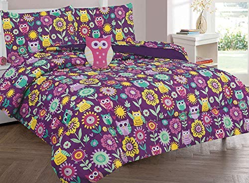 (Twin & Full 6 Pcs or 8 Pcs Comforter/ Coverlet / Bed in Bag Set with Toy (Full, Owl))