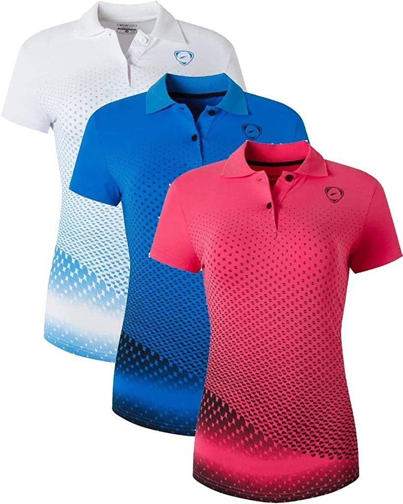 jeansian Womens 3 Packs Outdoor Sport Quick Dry Polo T-Shirt SWT251