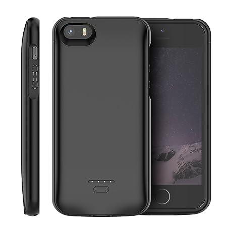 iPhone SE 5SE 5 5S Akku Hülle, 4000mAh Dünn Externe AkkuCase Aufladbar Batterie Ladehülle Integrierten Ersatzakku Ladegerät P