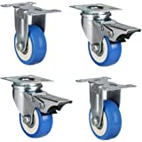 TOOLS AND HARDWARE Swivel Rubber Caster Wheel with and Without Break (50 mm, Blue) -Set of 4 Pieces