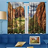 alsohome Printed Pair (2 Panels) Room Darkening Thermal Insulated Utah Plateau Mojave Desert Southwest Erosi Navajo Art Top Pattern Curtains 55'' W x 45'' L