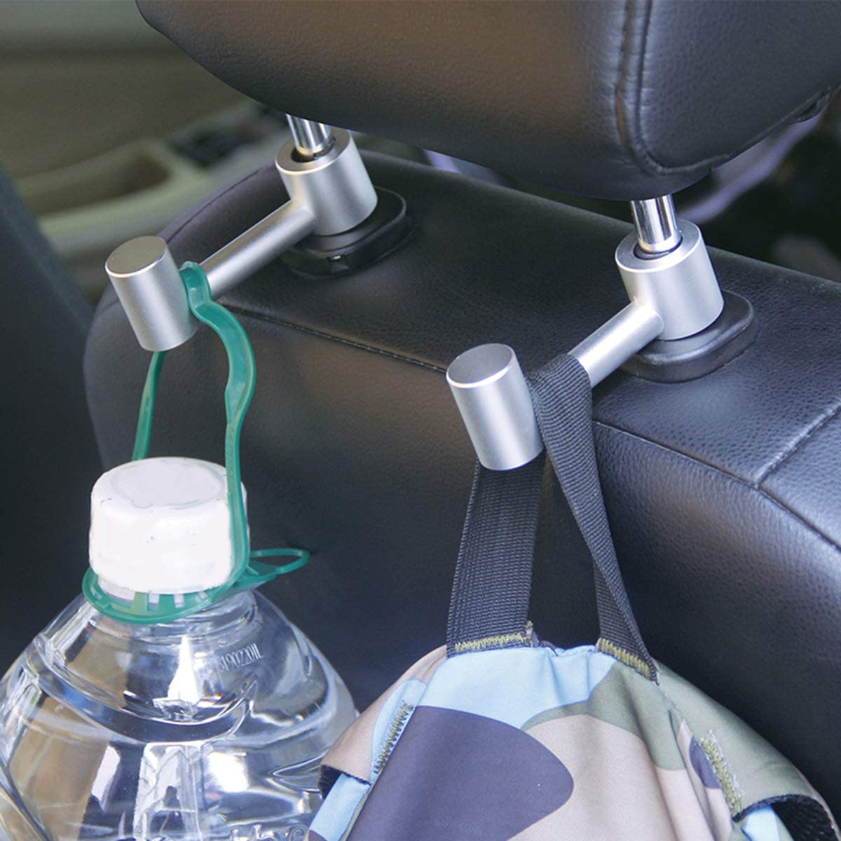 DEALPEAK Aluminum Alloy Car Headrest Bar Hook Coat Grocery Bag Hanger Storage Organizer Holder Hook 2 Colors Optional