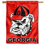 "This UGA Dawgs Double Sided House Flag measures 30"" x 40"" in size, has a Double Stitched Perimeter, is made of 2-Ply Polyester, and has a top pole sleeve to slide over your flagpole or banner pole. These House Flags are NCAA and University of Georgia..."