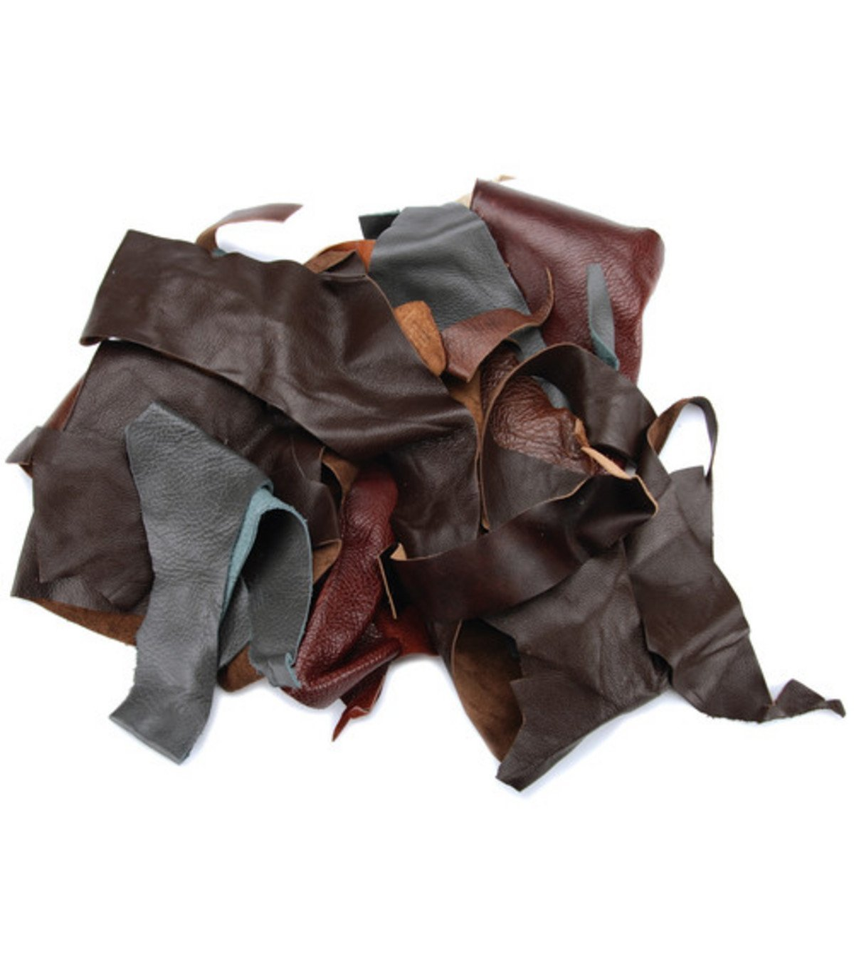 REED Scraps - 2 Pound Leather from Garment Cutting Mostly Black Color, 2 lb. REED LEATHER