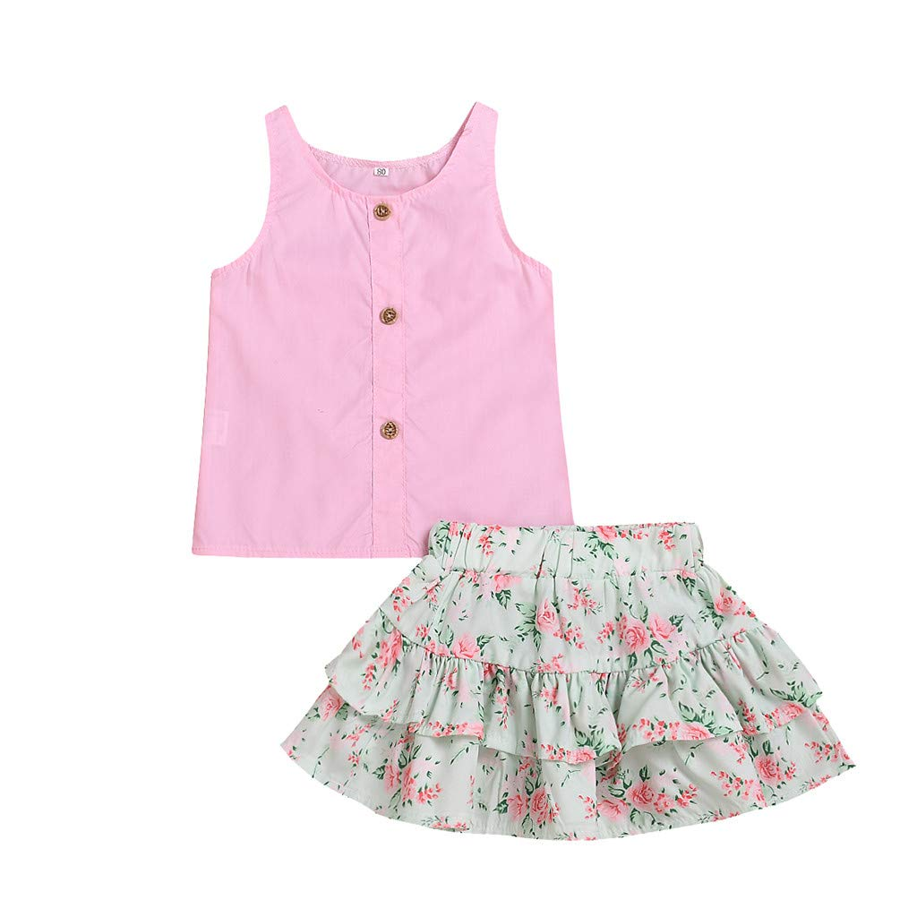 Toddler Baby Girls Sleeveless Solid Print Vest Tops+Floral Skirts Outfits Sets
