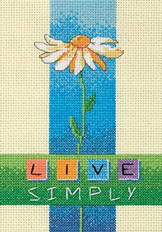 Dimensions Needlecrafts Counted Cross Stitch, Live Simply - Floral Counted Cross Stitch