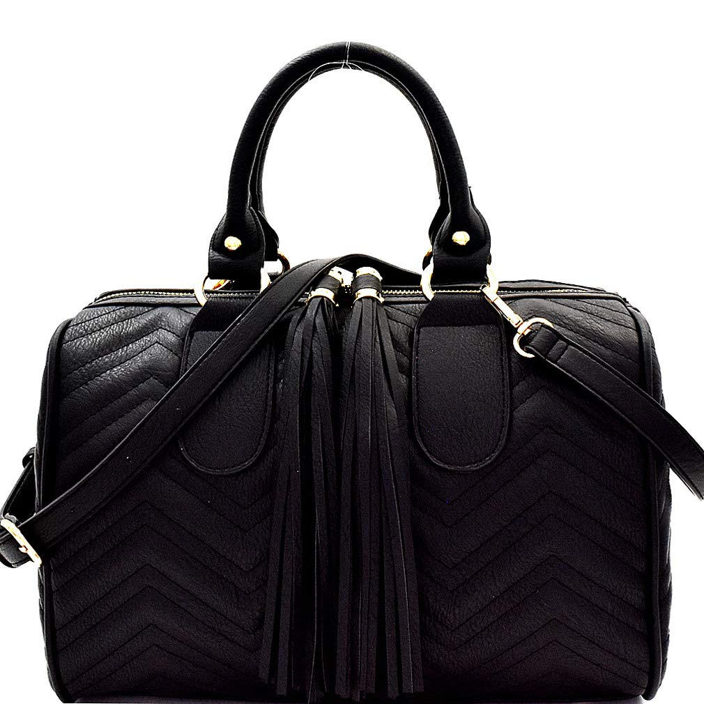 Black New  Handbag Republic Quilted Chevron Large Boston Satchel w Strap