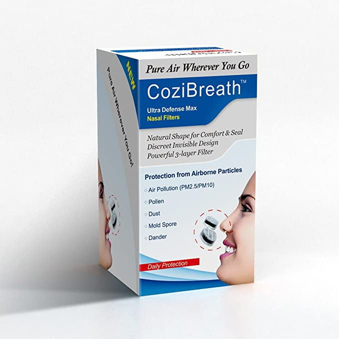 Cozibreath 3 en 1 Anti alergia Nariz Filtros Máscara Reducen Las Partículas de Contaminación Aérea, Polen, Polvo, Moho, Alérgenos de la Caspa, ...