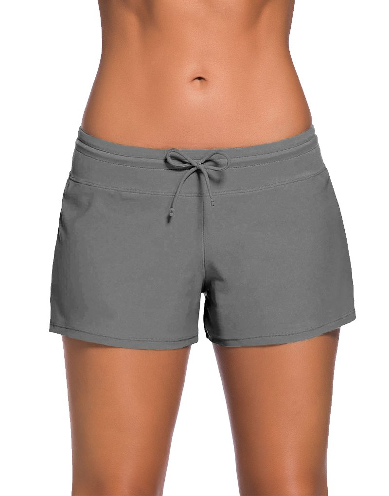 PARICI Women's Side Split Waistband Swim Shorts with Panty Liner Plus Size S-3XL