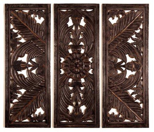 Set 3 Huge Fine carving Wood Wall Decor Sculpture 70W