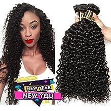 Yavida Peruvian Curly Hair 3 Bundles 8A Unprocessed Peruvian Kinky Curly Human Hair Virgin Kinkys Curly Hair Weave Extensions Natural Black Color 12 14 16 Inch