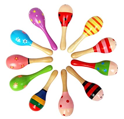 Reasonable 2pcs Wooden Rattlehammer Of Sand Musical Instruments Toys For Children Random Color Maraca