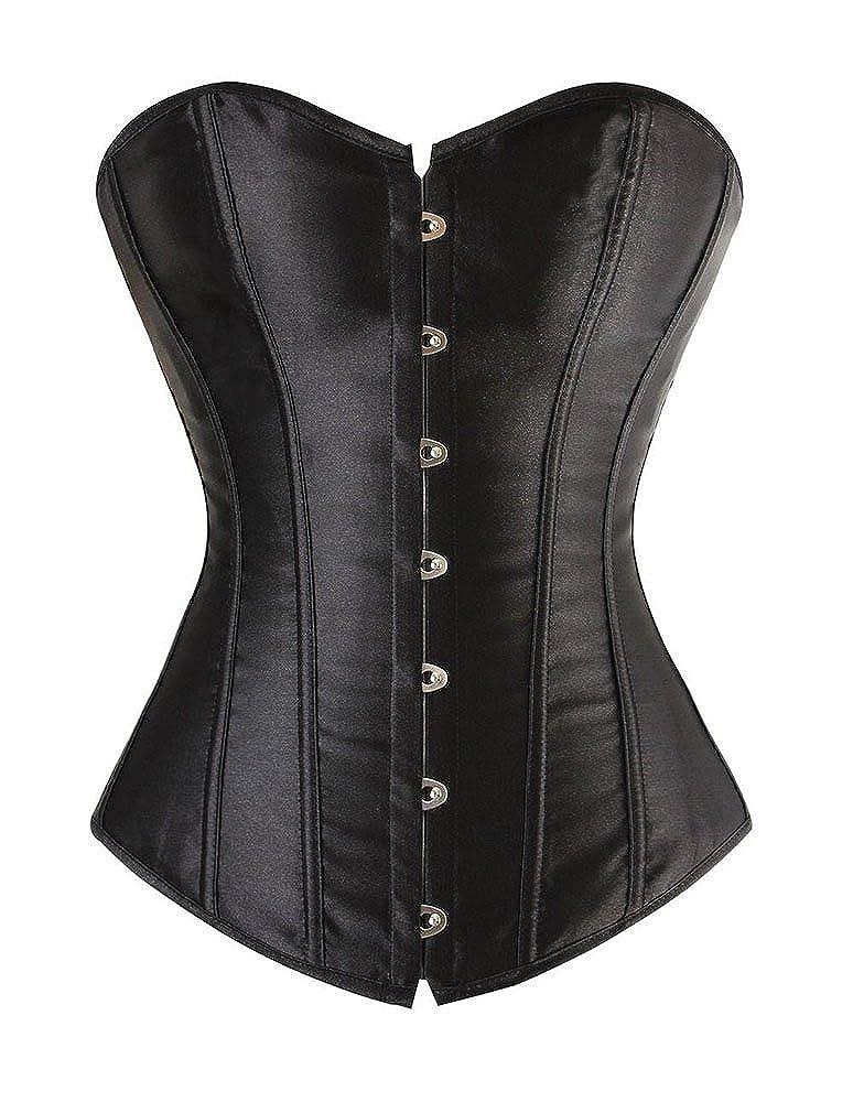 BLF Women Satin Plain Pure Black Bustier Top Burlesque Basque Shaper Boned Corset