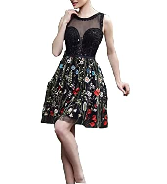 Kiss Rain Womens Floral Embroidered Short Prom Dresses Homecoming Dress