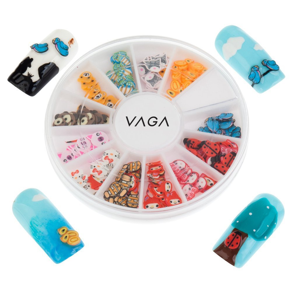 Professional High Quality Manicure 3D Nail Art Decorations Wheel With Fimo Slices / Decal Pieces In 12 Different Shapes And Many Colours By VAGA®