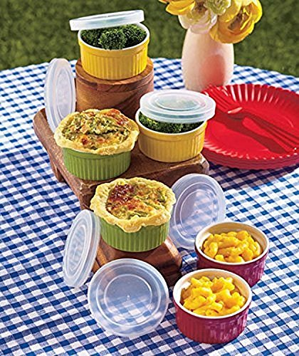 Beautiful, Colorful And Multiple Uses Of 12 Pc ( Six Bowl And 6 Lids) Set Stoneware Condiments Ramekin With Lids (Red, Green, Mustard)