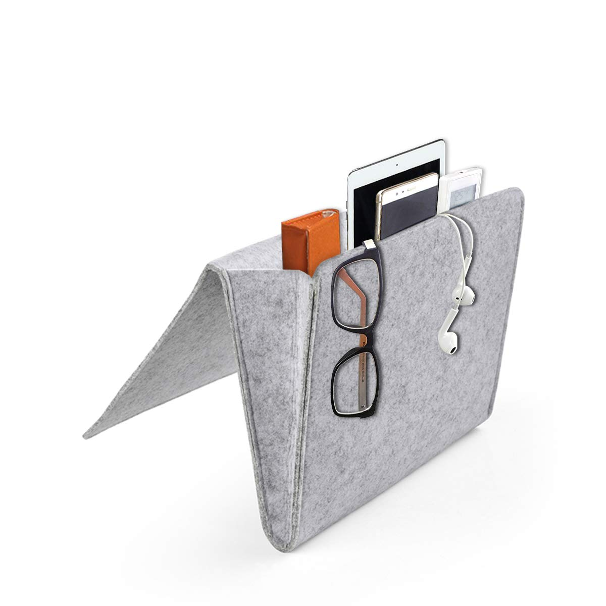Daite 0.2 Inches Thick Felt Bedside Caddy Pocket, Inside with 2 Small Pockets for Organizing Phone, Remote, Magzine, Glasses and Pen (Light Grey) Winstar Electronics Tech co. ltd