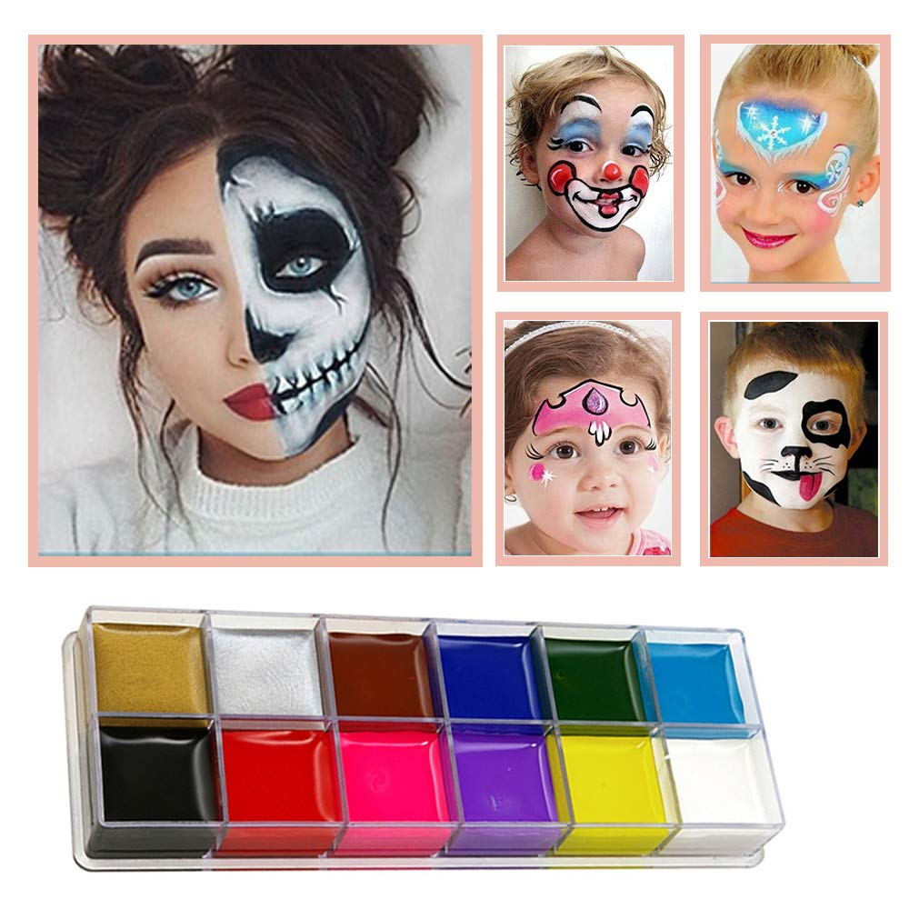Face Paint Set for Kids, 12 Colour Kit with 2 Brushes Professional Quality Face Painting Party Palette,Safe Non-Toxic, Easily Removable,Birthday Party Gifts &Halloween Gift for Kids CMKJI