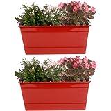 Trust Basket Set Of 2 - Rectangular Railing Planter - Red (12 Inch)