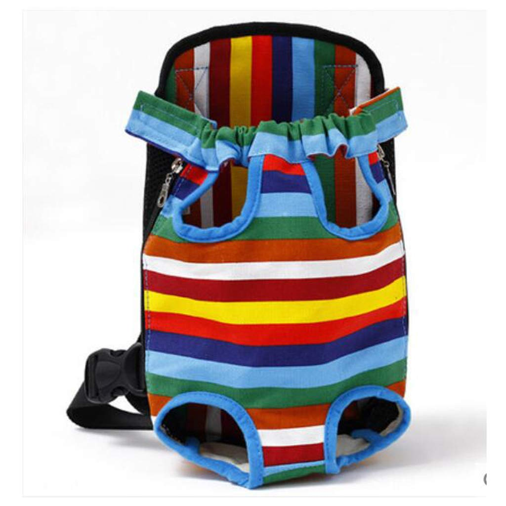 2338CM ZMXD Pet Bag, Rainbow Striped Cat Dog Backpack Breathable Backpack Chest Bag Out Portable Canvas 3.5-9KG (Size   23  38CM)