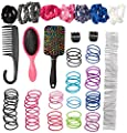 Stylin Hair Accessories Set for Women - Contains 180 Essential, Premium Hair Care Accessories - Hair Ties, Claw Clips, Hair Scrunchies, Bobby Pins, Detangling Brush, Shower Comb, Paddle Brush & More