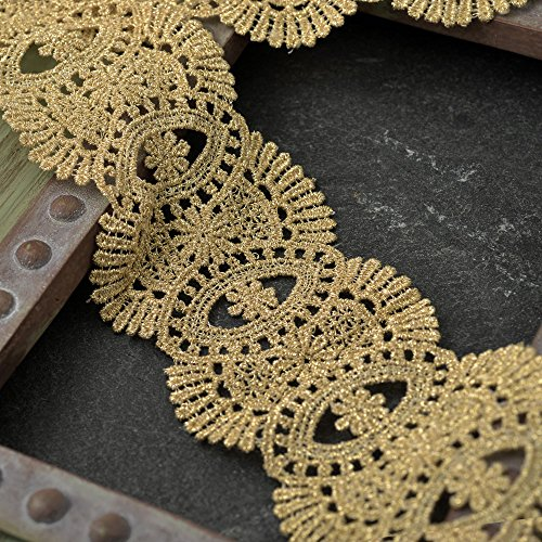 - Fine Metallic GOLD Lace Trim for Bridal, Costume or Jewelry, Crafts and Sewing, 2-1/4 Inch by 1 Yard, LP-ST-4186