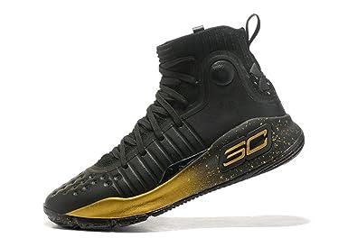 f7cc38df1de4 BSTBLL Curry 4 Black Gold Mens Basketball Shoes  Amazon.co.uk  Shoes ...