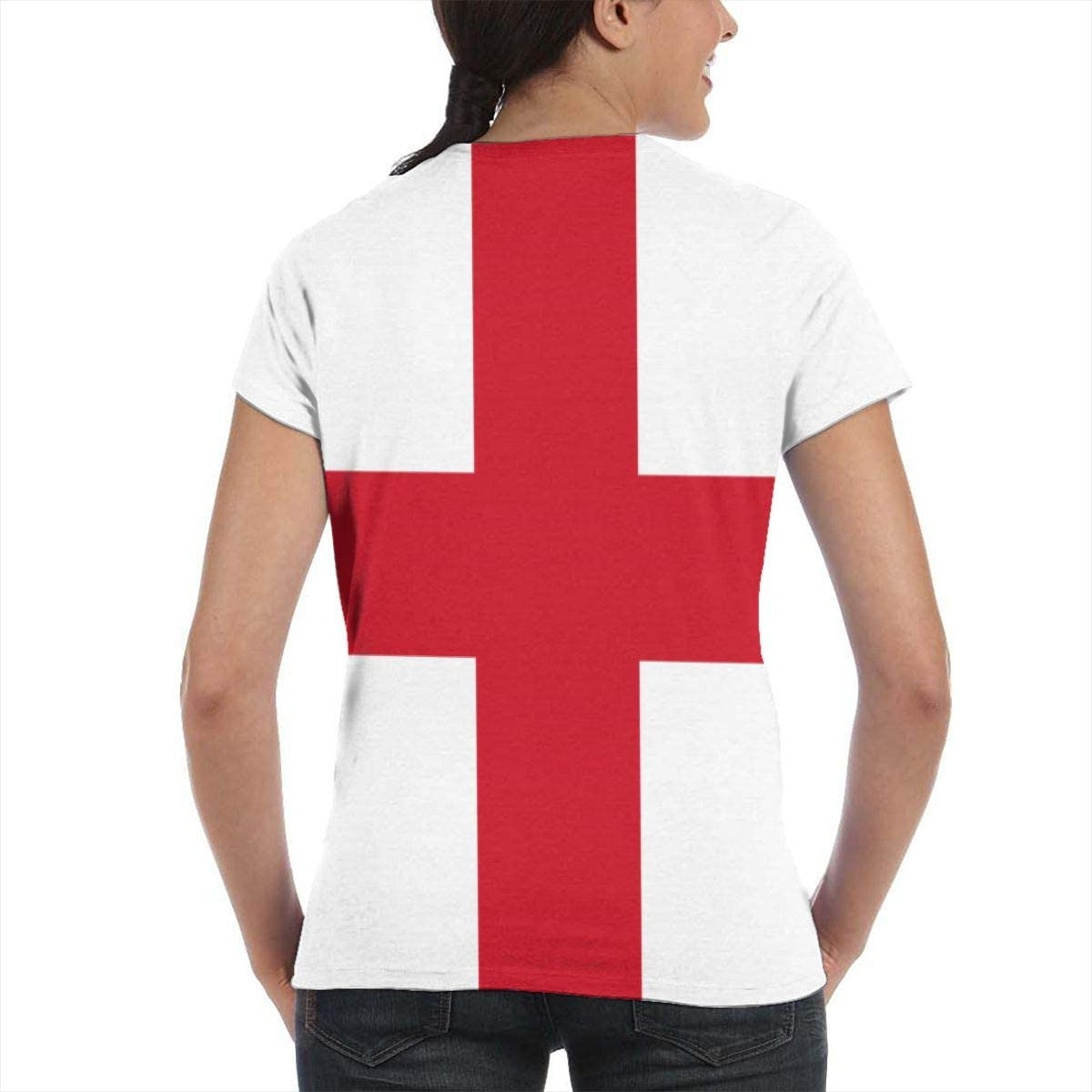 NuoKeSi Network Flag of England Womens Fashion Round Neck Loose Sports Casual T-Shirt Wild Short Sleeve
