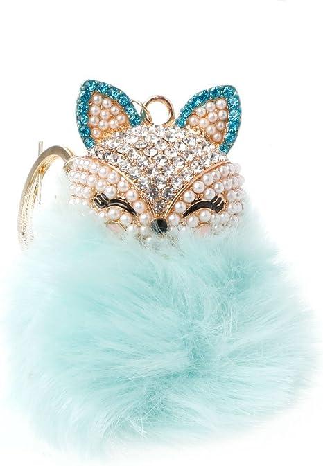 Susada Fox - Llavero con forma de cabeza de conejo sintético y ...